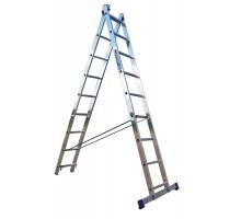 Лестница 2-х-секционная, 2 х14 ступеней, алюминиевая, Perilla