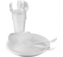 Набор однораз.посуды на 10 персон (прозр) в пленке